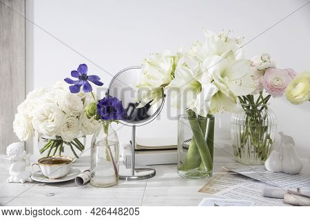 London, Uk -20 March 2021, White Roses, Pink Ranunculus, Blue Anemones, Yellowish Buttercups, Lilies