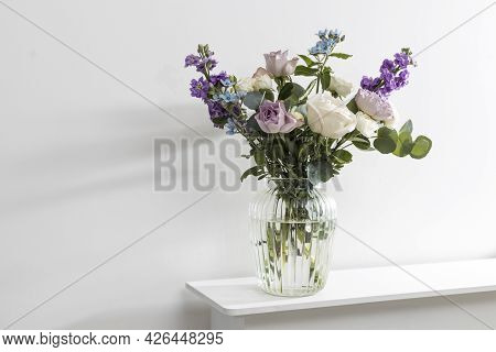 Bouquet Of Hackelia Velutina, Purple And White Roses, Small Tea Roses, Matthiola Incana And Blue Iri