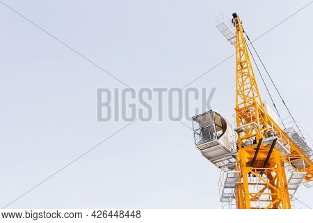Construction Crane Assembly Stage. Tower Crane Assembly. Installation Of A Construction Crane Before