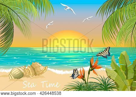 Tropical Beach On The Background Of The Sea.tropical Beach, Butterflies And Palms On The Background