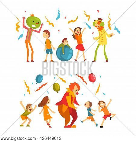 Holiday Party Actor Or Entertainer Wearing Costume Of Clown Playing With Kids Vector Set