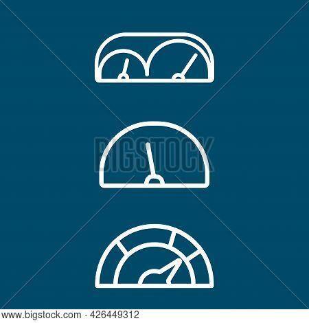 Car Dashboard, Speedometer, Tachometer Line Icon Set. Car Dashboard, Speedometer, Tachometer Line Ic