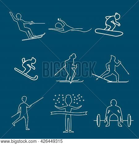 Sports Man, With Basketball Player, Pole Vault, Ski Man, Water Skiing Line Icon Set. Sports Man, Wit