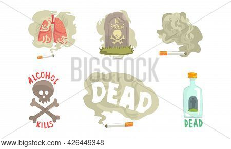 Smoking And Alcoholism Addiction As Bad Habits With Alcohol Bottle And Skull Vector Set