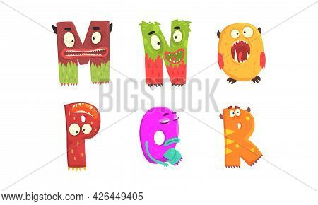 Monster Alphabet With Funny Capital Letter Having Open Toothy Mouth Vector Set