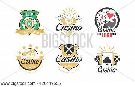 Casino Premium Logo Design As Gambling Graphic Emblem Vector Set
