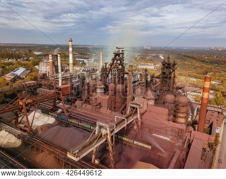 Blast Furnace Equipment Of The Metallurgical Plant, Drone Aerial View.