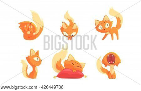 Cute Ginger Kitten Sleeping On Pillow And Yawning Vector Set