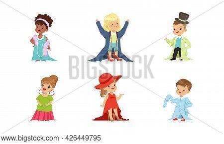 Cute Little Kids Wearing Elegant Adult Oversized Clothing Vector Set