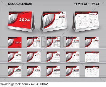 Set Desk Calendar 2024 Template Vector And Desk Calendar 3d Mockup, Calendar 2025-2026 Template Desi