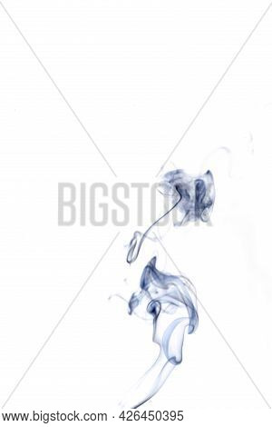 Vapor Line. Black Smoke, Blur Abstract Fog Or Steam Mist Cloud Isolated On White Background. For War