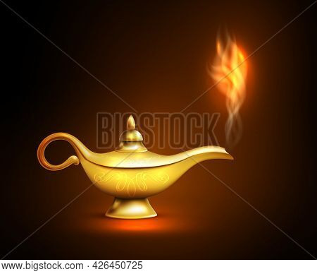 Realistic Aladdin Lamp Smoke Icon Yellow Iron Placed On The Surface And Casts A Shadow Vector Illust