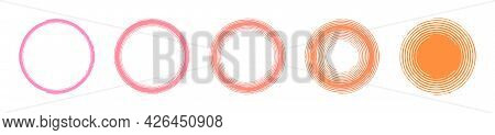 Set Of 5 Vector Background Circle Frames With A Smooth Color Transition From Pink To Orange, Concent