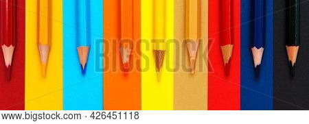 Colored Pencils On A Multi-colored Background. Many Pencils Of Different Colors. Color Pencil. The P