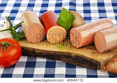 Variety of german sausage specialties poster