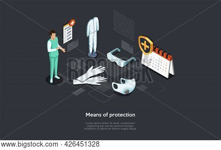 Vector Illustration In Cartoon 3d Style. Isometric Composition On Dark Background With Text. Means O