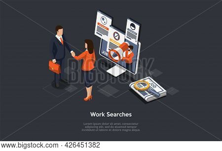Vector Composition On Work Search, Employment Process, Job Vacancy Hire Concept. Isometric Illustrat
