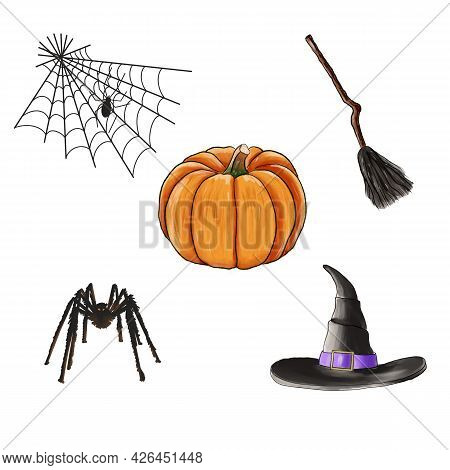 Set Of Halloween Stickers With Pumpkin, Web Spider, Broom, Hat Of Witch, And Spider Isolated On Whit