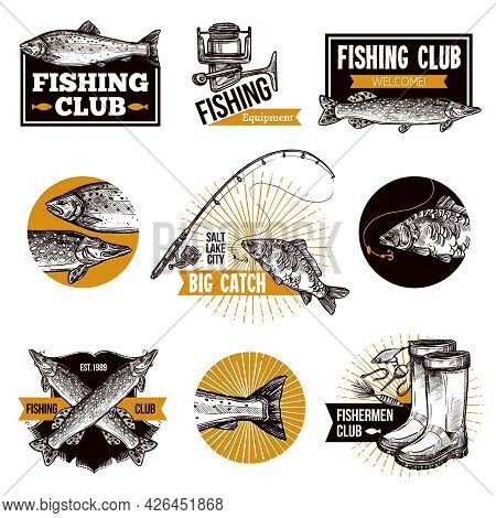 Hand Drawn Fishing Logo Emblems Set With Fishes Equipments Like Fishing Rod And Advertising Isolated