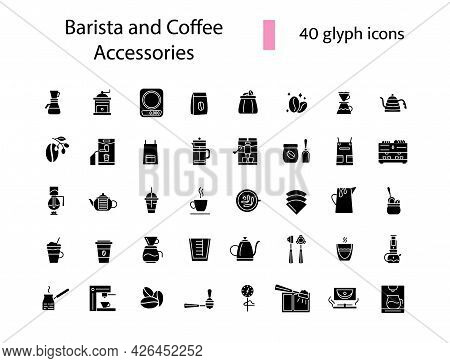 Barista And Coffee Accessories Glyph Icons Set. Coffee Shop Equipment. Isolated Vector Stock Illustr