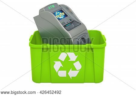 Recycling Trashcan With Atm Machine, 3d Rendering Isolated On White Background