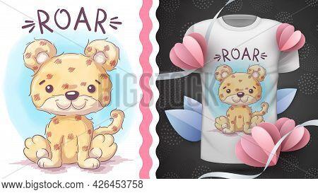 Childish Cartoon Character Animal Jaguar - Idea For Print T-shirt. Hand Draw