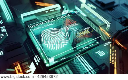 Hardware Security Biometric Fingerprint. Network And Indentity Protection Concept. 3d Illustration.