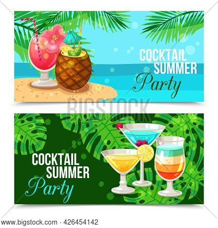 Horizontal Banners Presenting Cocktail Summer Party Different Cocktails On Green And Blue Background
