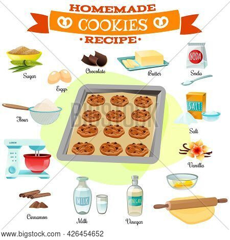 Flat Design Baking Ingredients And Recipe For Delicious Homemade Chocolate Cookies Isolated Vector I