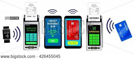 Set Of Realistic Wireless Nfc Payment Machine Terminal Isolated Or Credit Card Pos With Receipt Or P