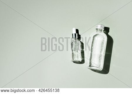 Dropper Glass Bottle Mock-up. Body Treatment And Spa. Natural Beauty Products. Eco Cream, Serum, Ski