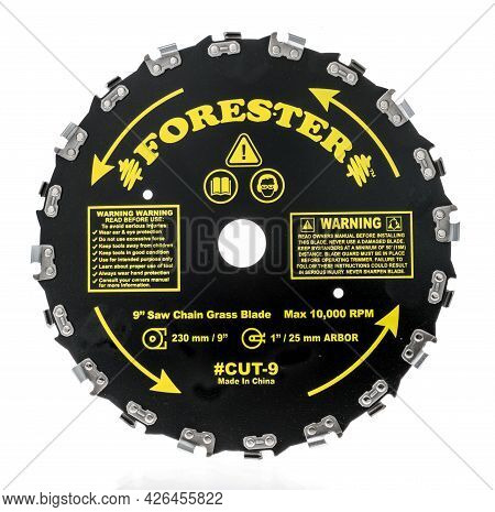 Winneconne, Wi -11 July 2021:  A Package Forester Saw Chain Brush Cutter Blade On An Isolated Backgr