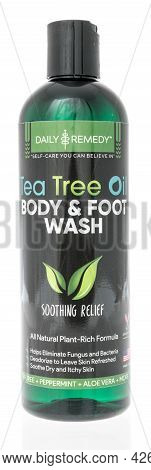 Winneconne, Wi -11 July 2021:  A Bottle Of Daily Remedy Tea Tree Oil Body And Foot Wash On An Isolat