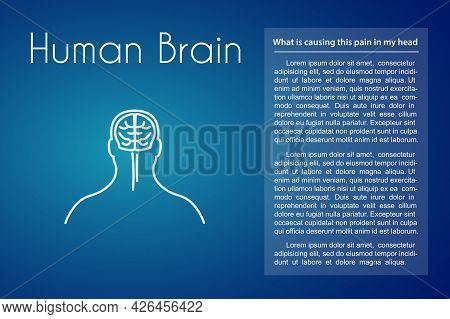 Human Brain Linear Medical Icon On Blue Background. Abstract Vector Illustration Of Brain In The Hea
