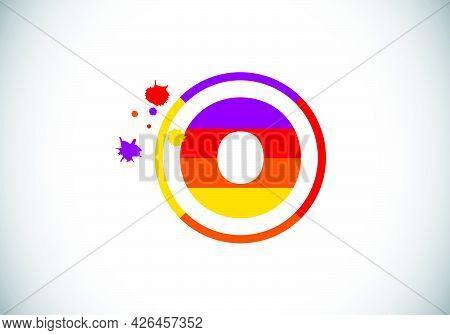 Initial O Monogram Letter Alphabet In A Circle With Brush Splash. Font Emblem. Modern Vector Logo De