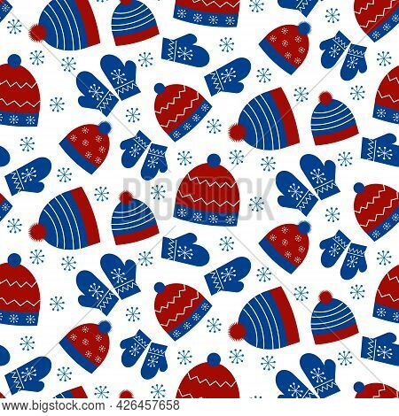 Pattern With Winter Hats And Mittens. Vector Illustration Isolated On White Background. For Use In P