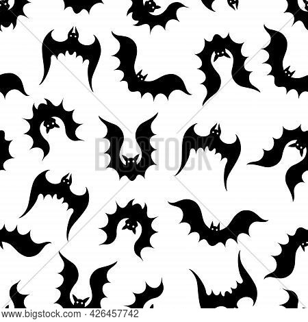 Seamless Vector Pattern With Bats. Black Silhouettes Of Animals On A White Background. Nocturnal Pre