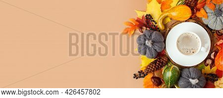 Autumn Flat Lay Composition With Dry Leaves Wreath Frame And Coffee Latte Cup On Neutral Beige Backg