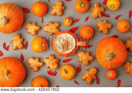 Pumpkin Spice Latte. Cup Of Latte With Seasonal Autumn Spices, Cookies And Fall Decor From Fresh Ora