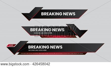 Lower Third Vector Red Futuristic Design Template. Set Of Tv Banners And Bars For News And Sport Cha