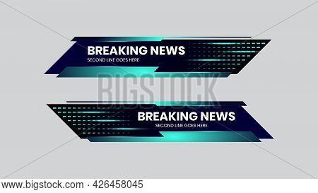 Breaking News Lower Third Vector Blue Futuristic Design Template