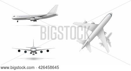 Flying Airplane, Jet Aircraft Or Airliner. Detailed Passenger Air Plane On White Background.