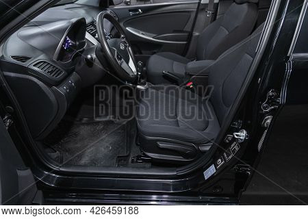 Novosibirsk, Russia - June 29, 2021: Hyundai Solaris, Car Interior - Steering Wheel, Shift Lever And