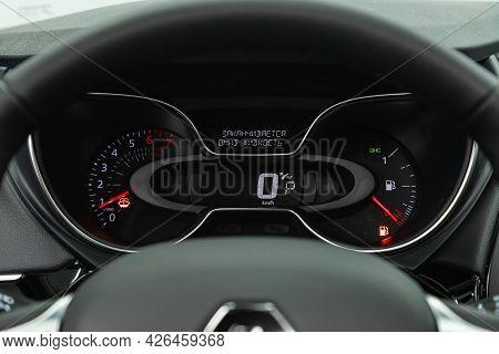 Novosibirsk, Russia - June 29, 2021: Renault Kapture, Car Panel, Digital Bright Speedometer, Odomete