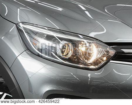 Novosibirsk, Russia - June 29, 2021: Renault Kapture,  Close Up Of The Car Headlights. Exterior Clos