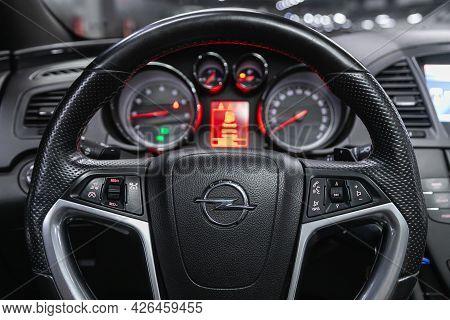 Novosibirsk, Russia - June 29, 2021: Opel Insignia, Cockpit Interior Cabin Details, Speedometer And