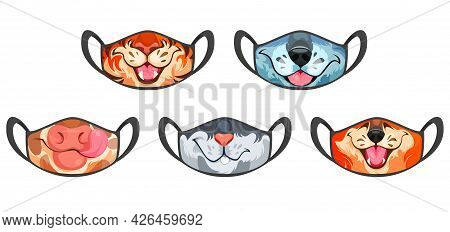 Medic Masks With Animal Muzzles, Cute Cartoon Cow, Wolf And Fox, Tiger Or Rabbit Funny Faces. Protec