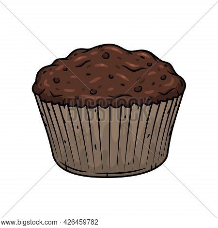 Muffin. Vector Isolated On White Background. Muffin