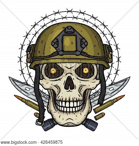 Soldier Skull. Skull In Helmet With Tactical Knifes, Bullets And Barbed Wire.