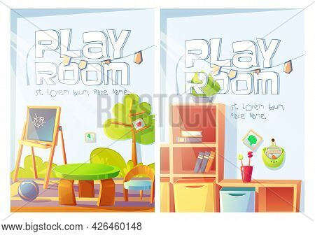 Playroom Flyers With Kindergarten Or Daycare Center Interior. Vector Posters Of Nursery Room With Ca